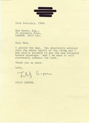Letter of thanks from Jilly Cooper. Feb 1988