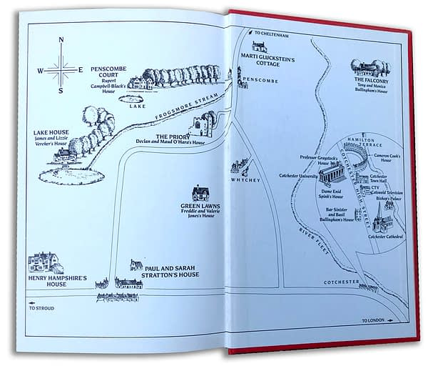 Endpaper map for Jilly Cooper's follow up to Riders, Rivals, Transworld Books.