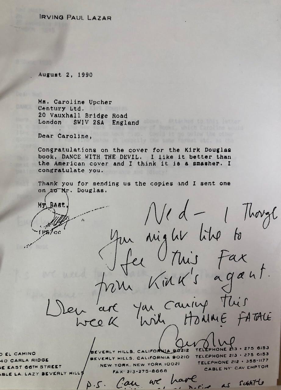 Irving Lazaar feedback on Kirk Douglas's book cover